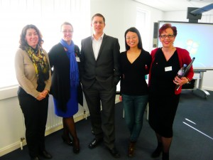 From L to R: Mary-Beth Gouthro, Debbie Sadd, David Hopkins, Masters student, and Karen Ward