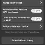 Amazon Cloud Player: Settings