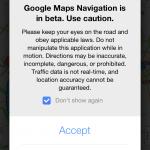 Google Maps App - Navigation Warning