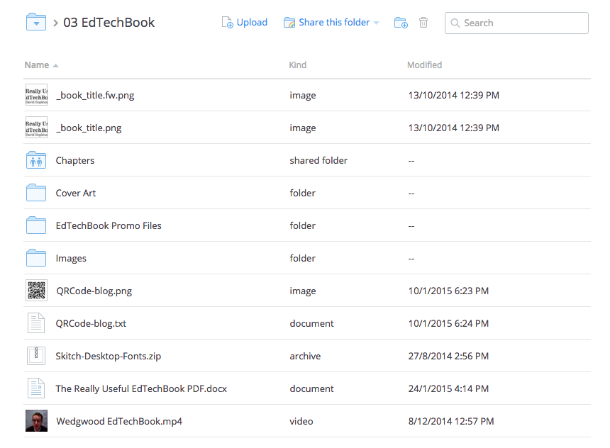 Dropbox used with The Really Useful #EdTechBook